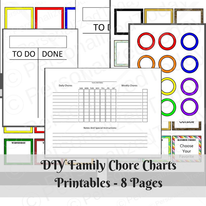 photograph regarding Printable Family Chore Chart titled Printable Do-it-yourself Family members Chore Charts Playing cards Package Preset Immediate Down load Electronic 8.5 x 11 PDF Dwelling Setting up Planner In direction of Do Performed Basic Simple