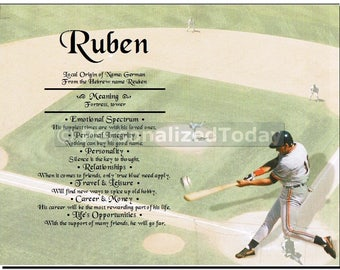 Baseball Name Meaning Origin Print Name Personalized Certificate 8.5 x 11 Inches Customized With Any Name