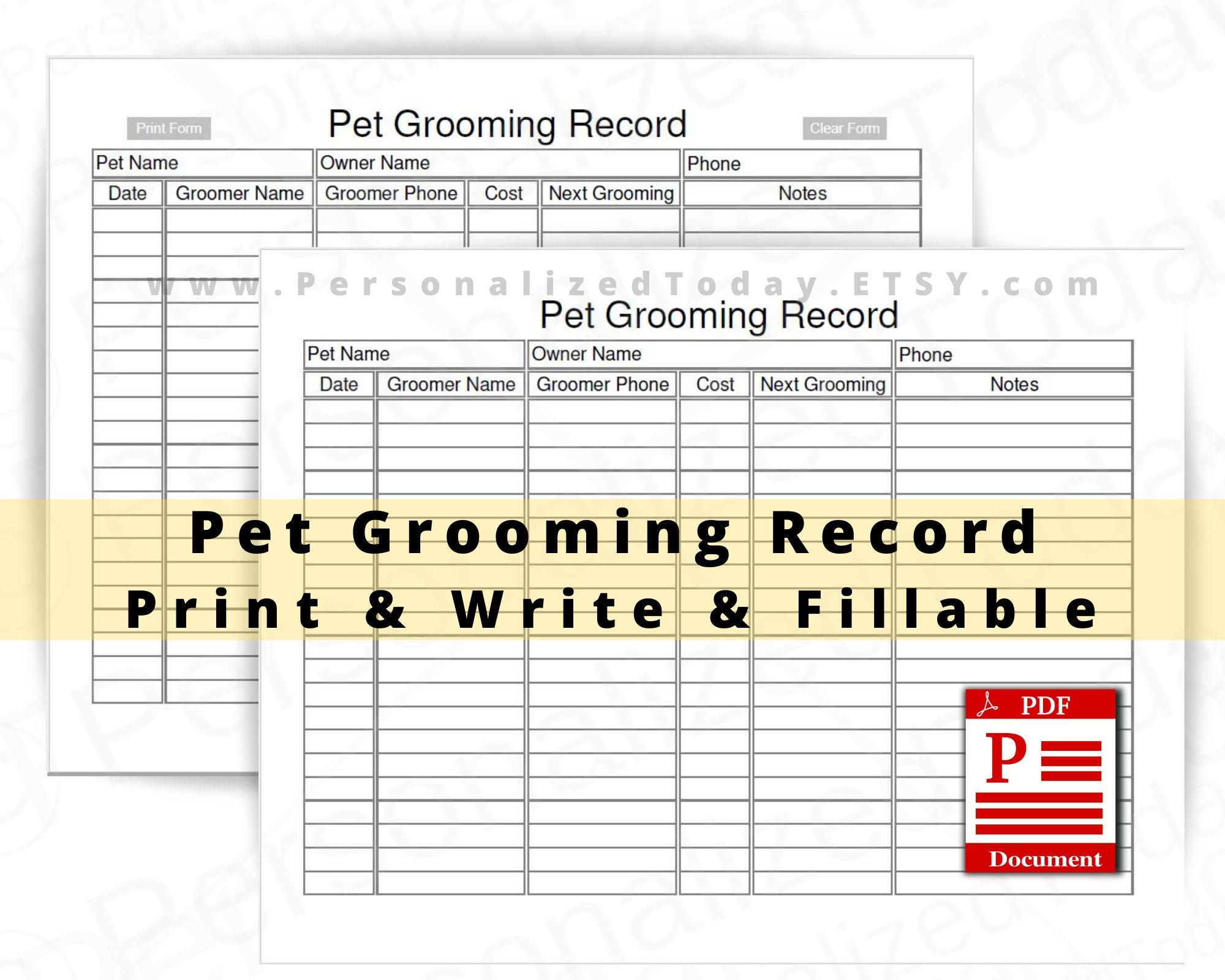 Pet Grooming Record Fillable and Print and Write PDF Files US  Etsy Intended For Dog Grooming Record Card Template