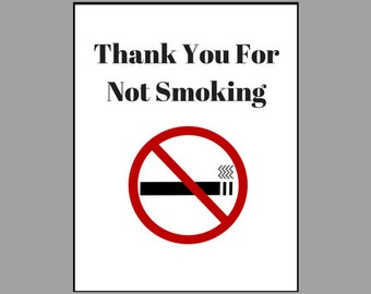 Thank You For Not Smoking Sign Instant Download Printable Vacation Rental Business Safety Signage Airbnb Do Not Smoke Smoking Not Allowed