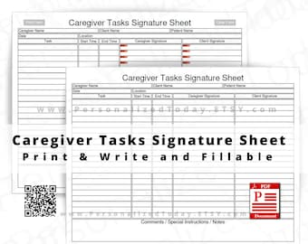 Caregiver Tasks Signature Sheet Print and Write and Text Input Fillable PDF Digital Downloads US Letter Size Not Fully Editable See Photos
