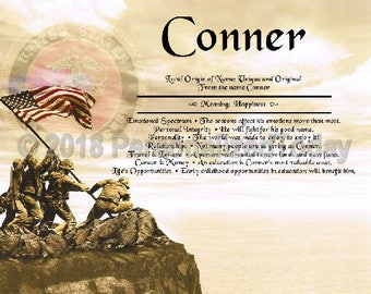 Marines Name Meaning Origin Print Name Personalized Certificate 8.5 x 11 Custom The Few The Proud Military Over Land & Sea Iwo Jima Soldiers