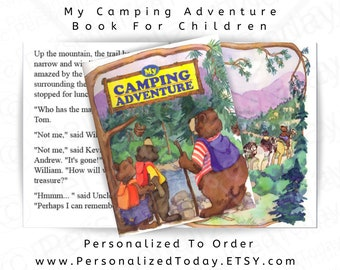 My Camping Adventure Personalized Book For Boys and Girls Ages 5 to 9 Children's Fiction Hardcover