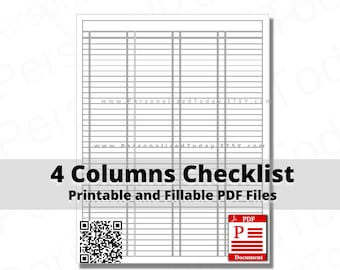 4 Columns Checklist Fillable and Print and Write PDF Digital Download Files US Letter Size