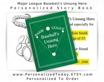 Personalized Baseball Book Major League Baseball's Unsung Hero Ages 9 to Adult
