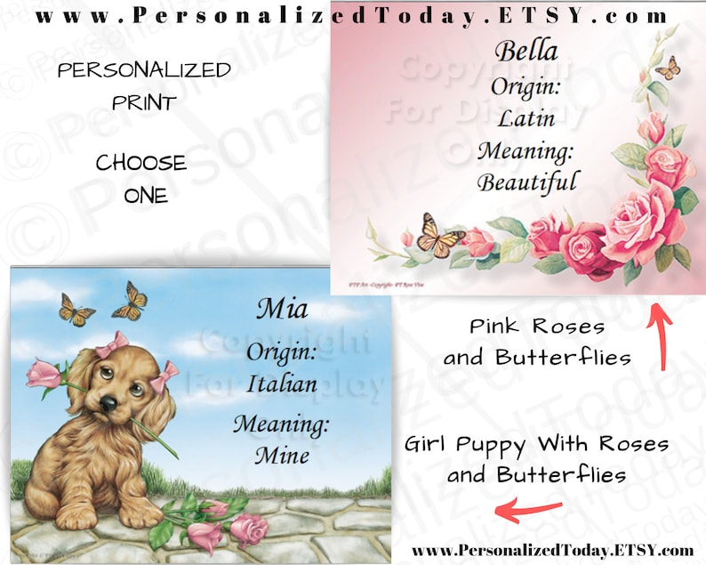 """Sports, Dogs, Animals /""""Baseball Puppy/"""" Name Meaning Print Personalized"""