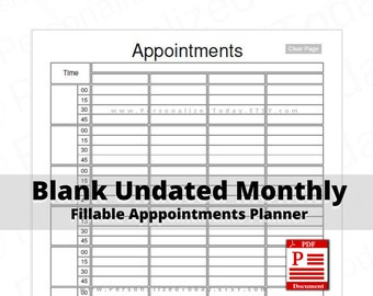 Undated Daily Monthly Appointment Schedule Planners Fillable PDF Downloads Blank Hour 4 Columns 8 Hours 15 Minute Time Slots US Letter Size
