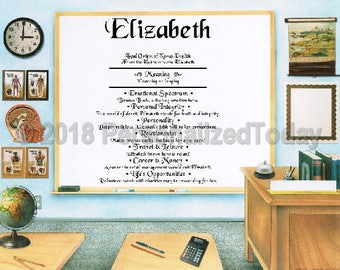 Classroom Name Meaning Origin Print Name Personalized Certificate 8.5 x 11 Inches Customized With Any Name