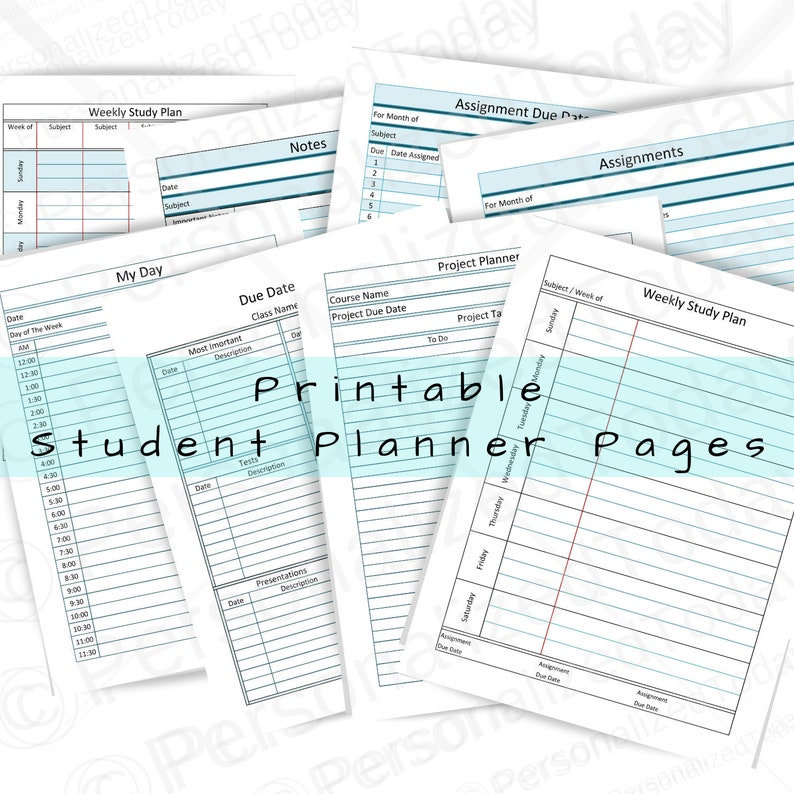 image about Printable Student Planner Download identified as Printable Pupil Planner Web pages Fast Electronic Down load Print and Publish Prepare Tasks, Quiz and Try out Dates and University Assignments