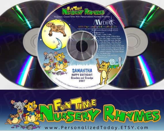 Digital download--This download has 22 classic nursery rhymes with your child/'s name song throughout each song. This is a link for the CD