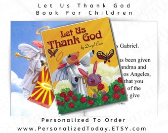Let Us Thank God Daryl Enos Personalized Christian Prayer Children's Fiction Book With Angel Lamb, Bunny and Butterfly Cover Ages 2 - 7