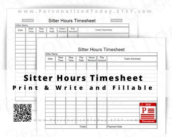Sitter Hours Timesheet Fillable and Print and Write PDF Download Files US Letter Size