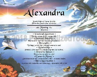 Dolphins Name Meaning Beach Ocean Coral Reef Marine Life Name Origin Print Personalized Certificate 8.5 x 11 Inches Custom Name Unique Gift