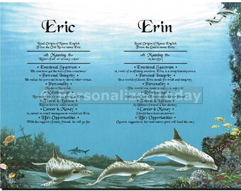 Dolphins First Name Meaning Personalized Name Origin Art Print Custom Marine Life Gift Ocean Gifts Sea Creature Sea Animals Dolphin Wall Art