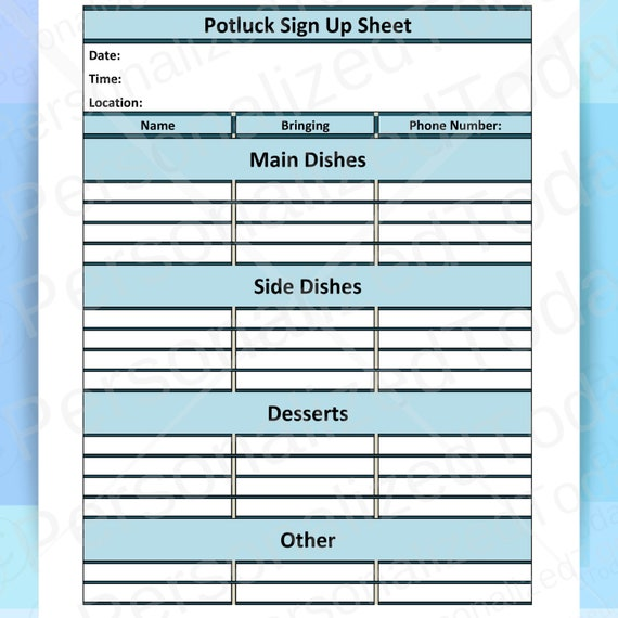 Pdf Printable Potluck Sign Up Sheets For Potluck Picnic Church Potluck Or Potluck Party Potluck Shower Potluck Birthday Or Potluck Dinner