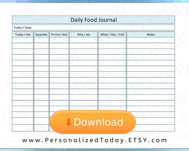 graphic regarding Printable Food Journal Pdf referred to as Printable Food items Consumption Feeding on Magazine PDF Food stuff Magazine Tracker US Letter Sizing Wholesome Consuming Intent Coming up with Worksheet Log Planner PDF Site