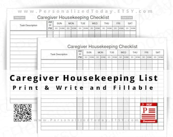 Caregiver Housekeeping Checklist Fillable and Print and Write PDF Files US Letter Size