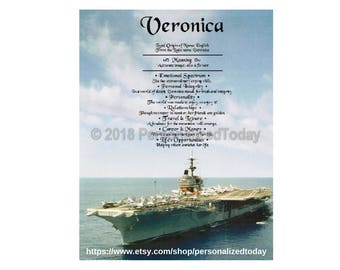 Navy Name Meaning Origin Print Name Personalized Certificate 8.5 x 11 Inches Customized With Any Name