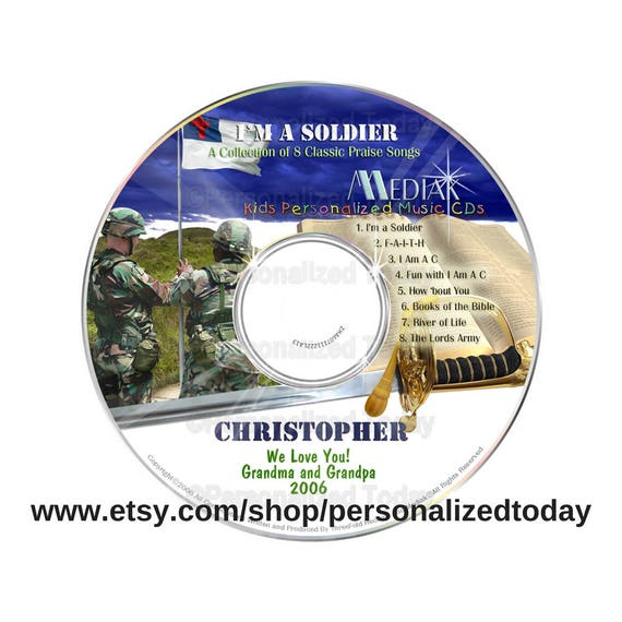 I'm A Soldier Name Personalized Music CD Children Sing Along Sing Your Name  Kids Praise Songs Custom Made For Your Child Educational Mediak