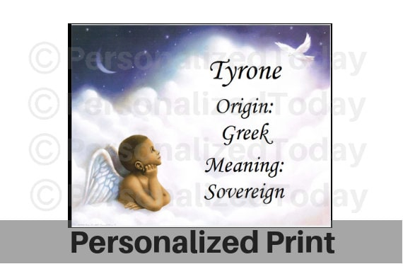 name meaning art print angel name history origin tyrone or any etsy