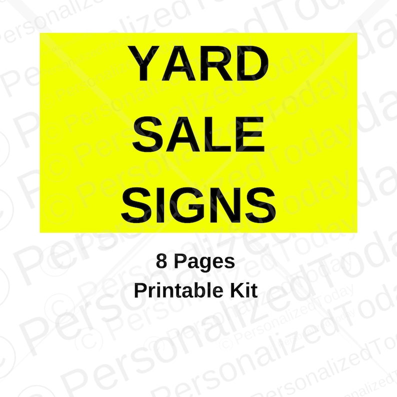 picture regarding Printable Garage Sale Sign known as Printable Yellow Backyard Sale Signs or symptoms Immediate Electronic Obtain US Letter Sizing
