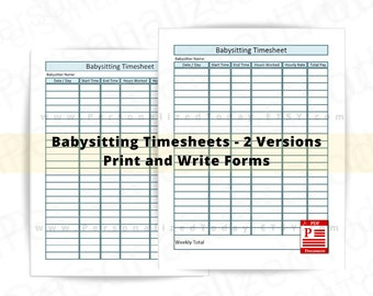 Printable Babysitter Time Sheet US Letter Size 8.5 x 11 Inches Childcare Hours Tracker Nanny Pay Sheet Employment Rate Log PDF Download File