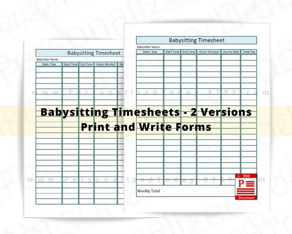Printable Babysitter Expense Sheet Instant Download Monthly Babysitter or Child Care Payment Log