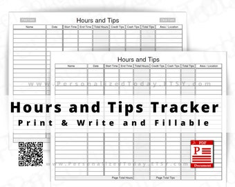 Hours and Tips Tracker Print and Write and Text Input Fillable PDF Digital Downloads - Not Fully Editable - See Photos