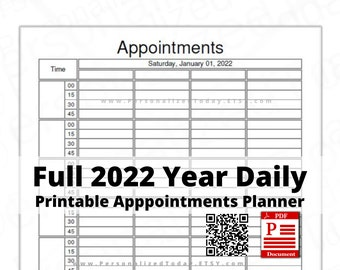 2022 Dated Daily Appointment Schedule Planners Print & Write PDF Downloads Blank Hour 4 Columns 8 Hours 15 Minute Time Slots US Letter Size