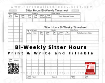 Bi-Weekly Sitter Hours Timesheet Fillable and Print and Write PDF Download Files US Letter Size