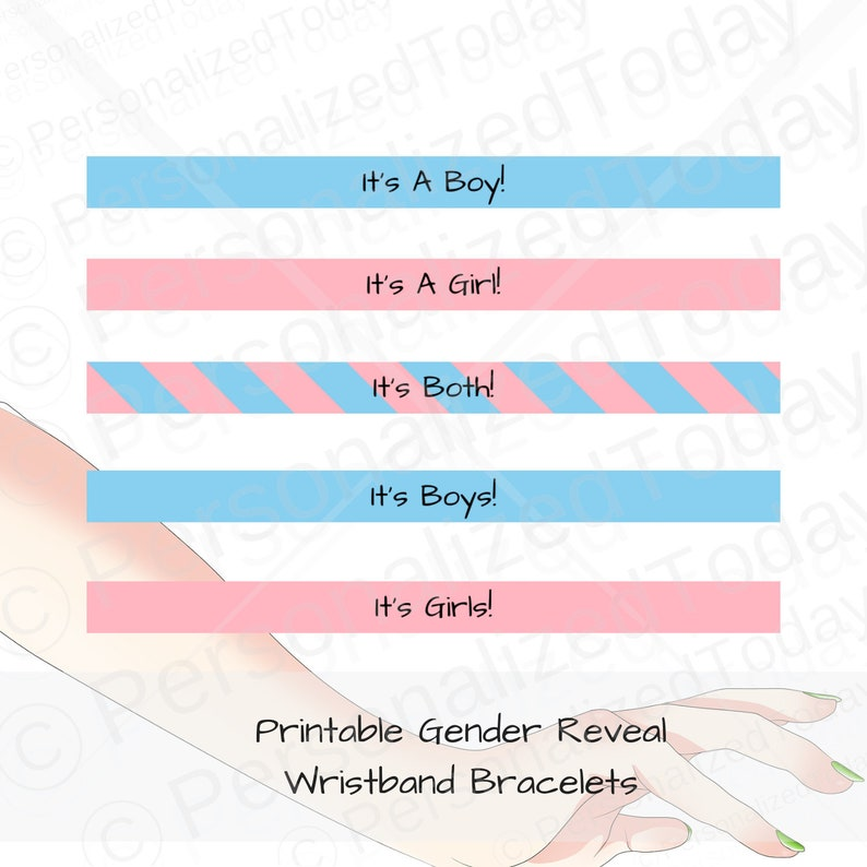 graphic about Printable Wristbands called Printable Gender Demonstrate Wristband Bracelets For Youngster Gender Clarify Bash Have on Your Bet Match Crimson Blue Boy (s), Female (s) and Either Genders