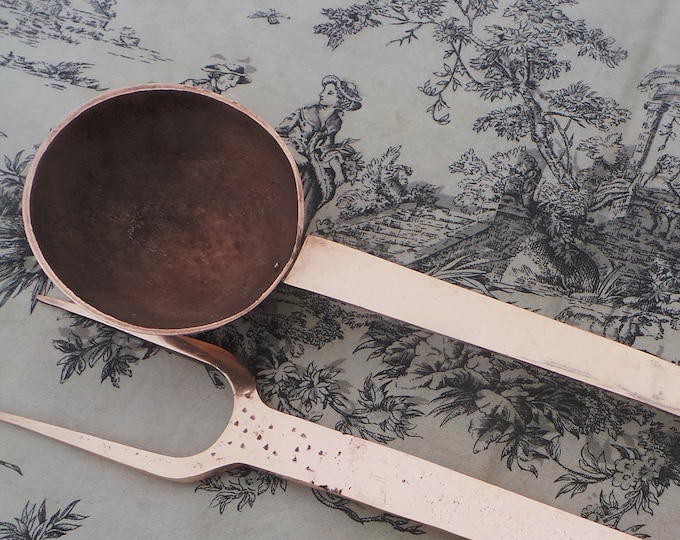 Solid Copper Ladle and Fork Meat Fourchette à viande Grande cuillère French Vintage Copper Very Heavy Quality Thick Hand Made Solid Antique