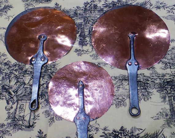 Antique Three Copper Pan Splash Lids French 16cm 20cm and 21cm Good Quality Set Cast Iron Handles Tin Lined Acquired Set Very Old Pre 1800