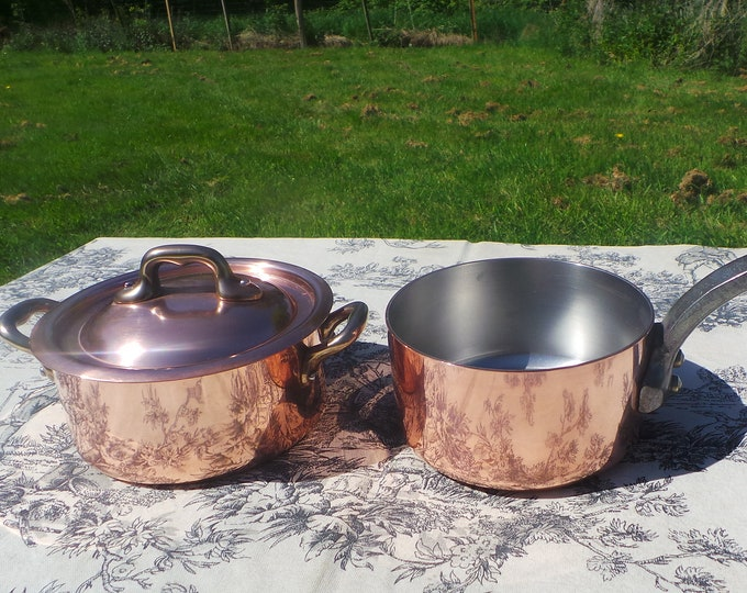 """French Copper Pan and Copper Pot Dutch Oven Casserole, One Lid 1.3 and 1.8mm Faitout Oval Pot 12 cm 4 3/4"""" Copper Pots Good Tin"""