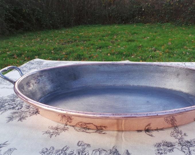 "Roasting Tin Au Gratin Pan Big Vintage Good Seasoned Tin Oven Dish Oval 39cm 15.25"" Copper Pan Copper Rivets Bronze Hand Handles 6943"