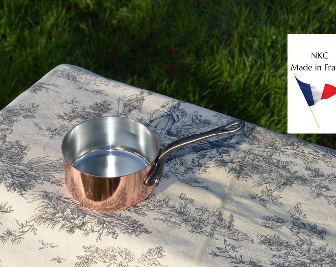 New 12cm NKC Copper Pan Tin Lined 1.7mm Professional Normandy Kitchen Copper Pot Iron Handle Steel Rivets Made in France 12cm 4 3/4 inch Pan
