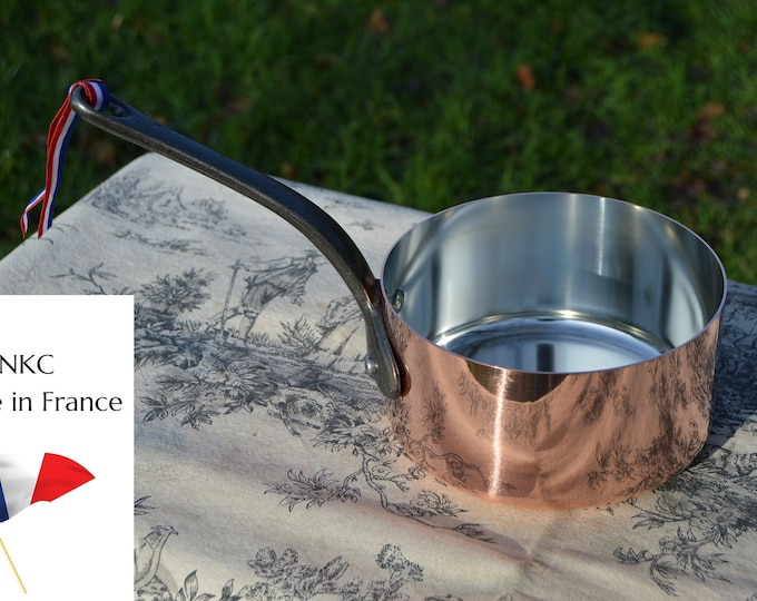 16cm New NKC Copper Pan Tin Lined Normandy Kitchen Copper Saucepan Iron Handles Steel Rivets Made in France Perfect 1mm 16cm 6 1/4 inch Pan