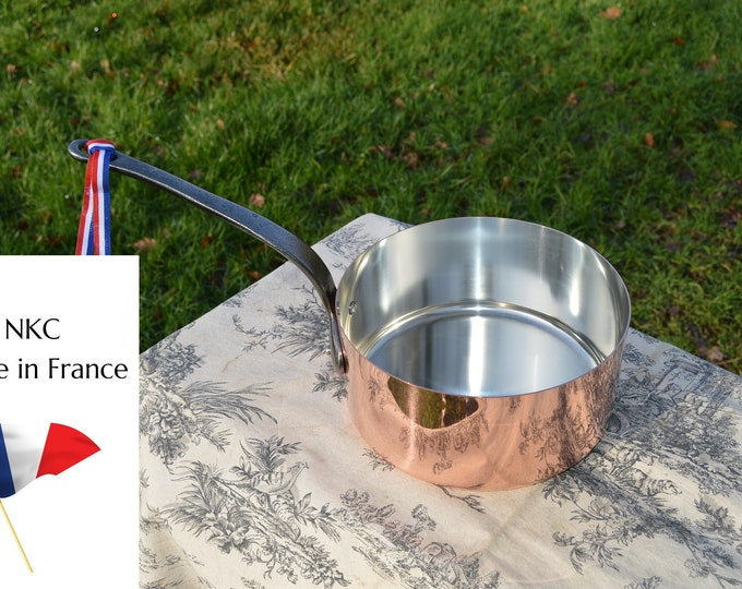 20cm New NKC Copper Pan Tin Lined Normandy Kitchen Big Copper Saucepan Iron Handles Steel Rivets Made in France Perfect 1mm 20cm 8 inch Pan