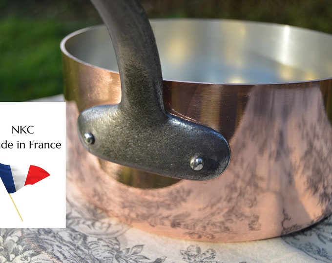 New 20cm NKC Copper Pan Tin Lined 1.7mm Professional Normandy Kitchen Copper Pot Iron Handle Steel Rivets Made in France 20cm 8 inch Pan