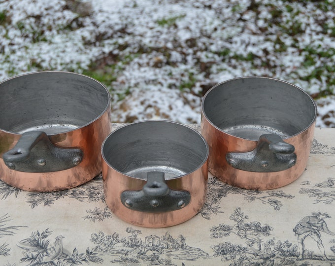 Three Pan Set Copper Pan Stamped 18cm, 16cm and 14cm Vintage French Saucepans 3mm Cast Iron Handles