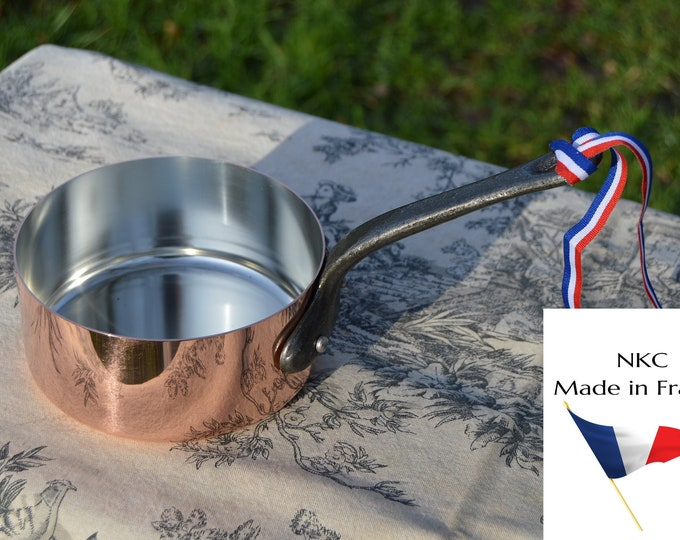 14cm New NKC Copper Pan Tin Lined Normandy Kitchen Copper Saucepan Iron Handles Steel Rivets Made in France Perfect 1mm 14cm 5 1/2 inch Pan