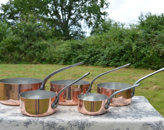 Vintage French Copper Pans Factory Tin Refurbished 1mm Five Graduated French Copper Pans Quality Bodies Good Condition