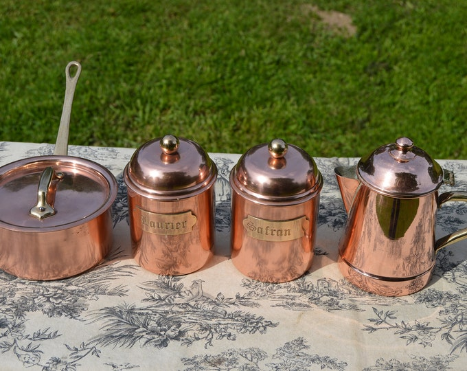 Kitchen Collection Copper Pan 12cm Fitted Lid Copper Coffee Pot Two Copper Containers Good Tin Collected Set Bronze Handles