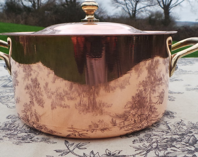 "Lecellier Copper Casserole Faitout Oval Pot French Copper Casserole Lid 1.45mm 18cm 7"" Good Condition Special Casserole Pan Great Interior"