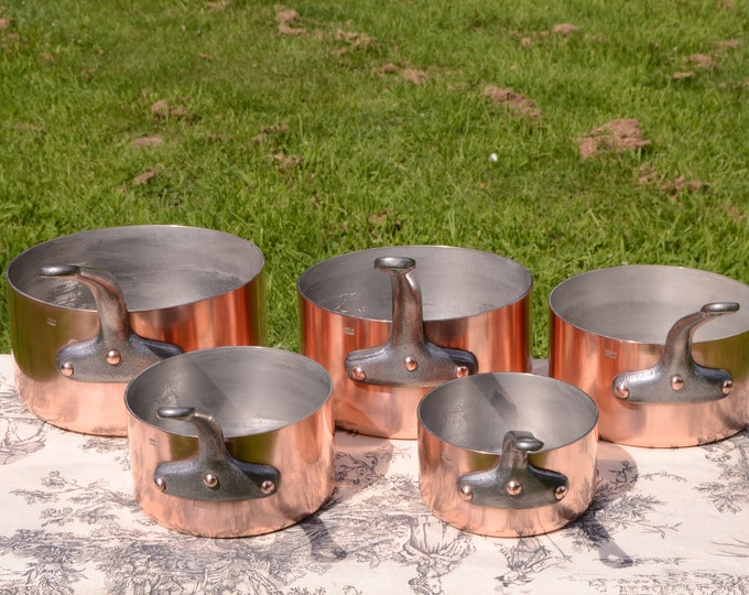 Made in France 2mm Set of Five Graduated French Vintage Copper Pans - The Pinnacle of Modern French Pans - Great Factory Tin