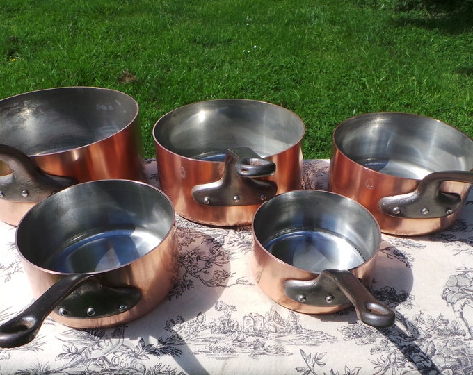 Copper Pans 5 1.9-2mm Vintage French Factory TIn Set Five Graduated French Vintage Fabrication Francaise Hammered 12cm-20cm Gorgeous!