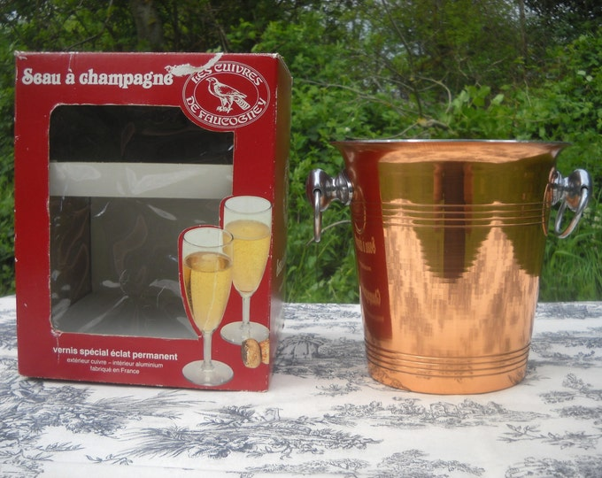 Copper Champagne Bucket with Cast Chromed Handles Les Cuivres de Faucogney Boxed Great 7th Wedding Anniversary Present, Copper for Good Luck
