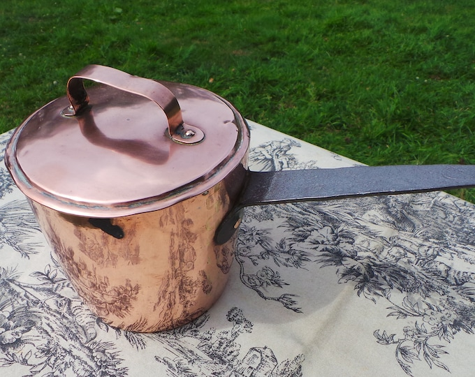 Antique Copper Pan Small But Tall Milk or Sauce Pan with Lid  French Copper Dark Tin Lined Cast Iron Handle Castellated Joints Museum Piece