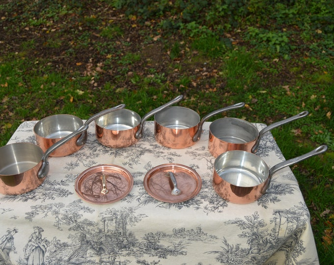Chef's Set Six 12cm Pans Plus Two Lids Vintage French 6 Copper Pans Cast Iron Handles Set Pots Saucier Pans Tin Lined 1-1.9mm Collected Set