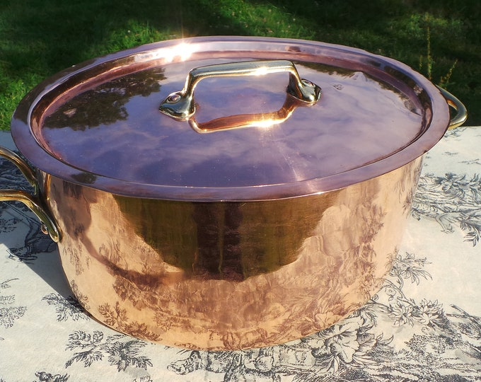 Copper Casserole Silver Lining 1.6mm 26cm French Oval Copper Rivets Bronze Handles Numbered Stockpot Faitout Marmite Dutch Oven Good Size